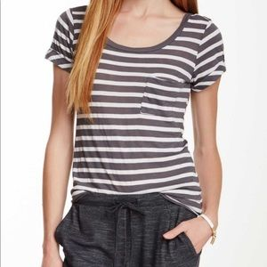 Splendid soft striped pocket tee